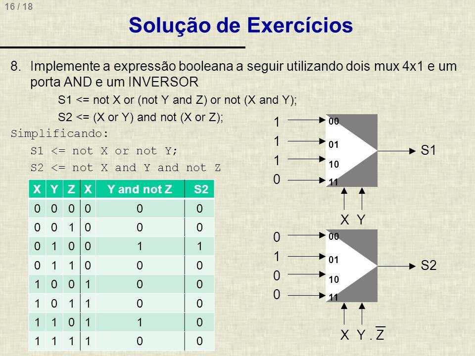 Solução de Exercícios Implemente a expressão booleana a seguir utilizando dois mux 4x1 e um porta AND e um INVERSOR.