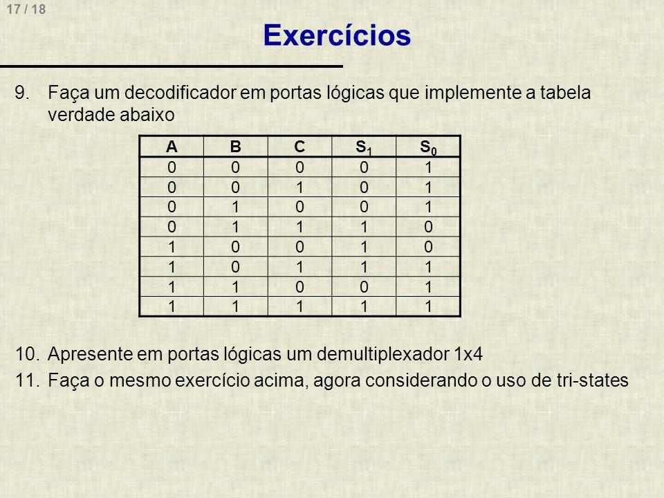 Exercícios Faça um decodificador em portas lógicas que implemente a tabela verdade abaixo. Apresente em portas lógicas um demultiplexador 1x4.