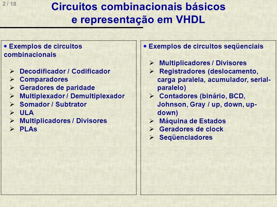 Circuitos combinacionais básicos e representação em VHDL