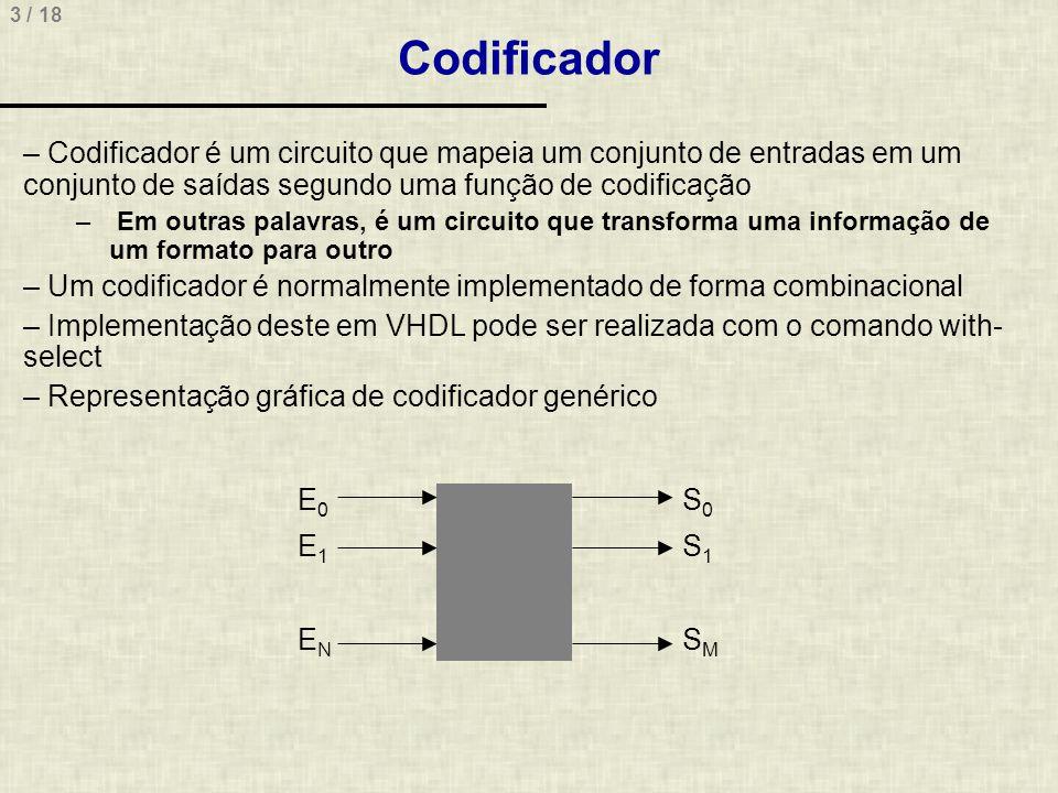 Codificador Codificador é um circuito que mapeia um conjunto de entradas em um conjunto de saídas segundo uma função de codificação.