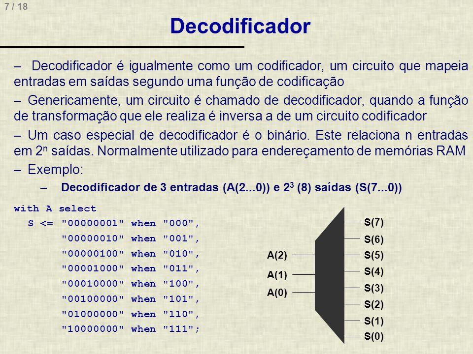 Decodificador Decodificador é igualmente como um codificador, um circuito que mapeia entradas em saídas segundo uma função de codificação.