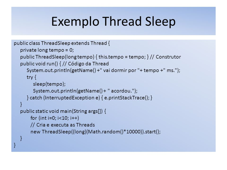 Exemplo Thread Sleep