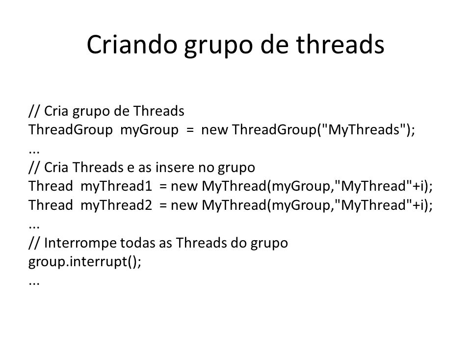 Criando grupo de threads