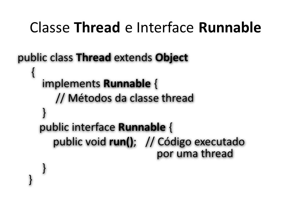 Classe Thread e Interface Runnable
