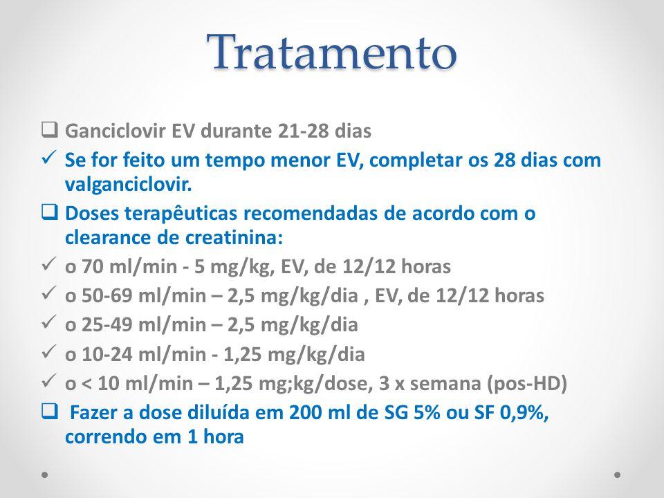 Tratamento Ganciclovir EV durante 21-28 dias