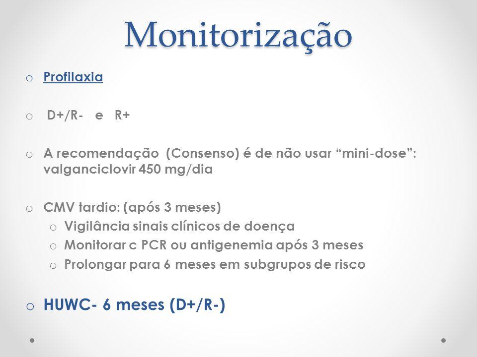 Monitorização HUWC- 6 meses (D+/R-) Profilaxia D+/R- e R+