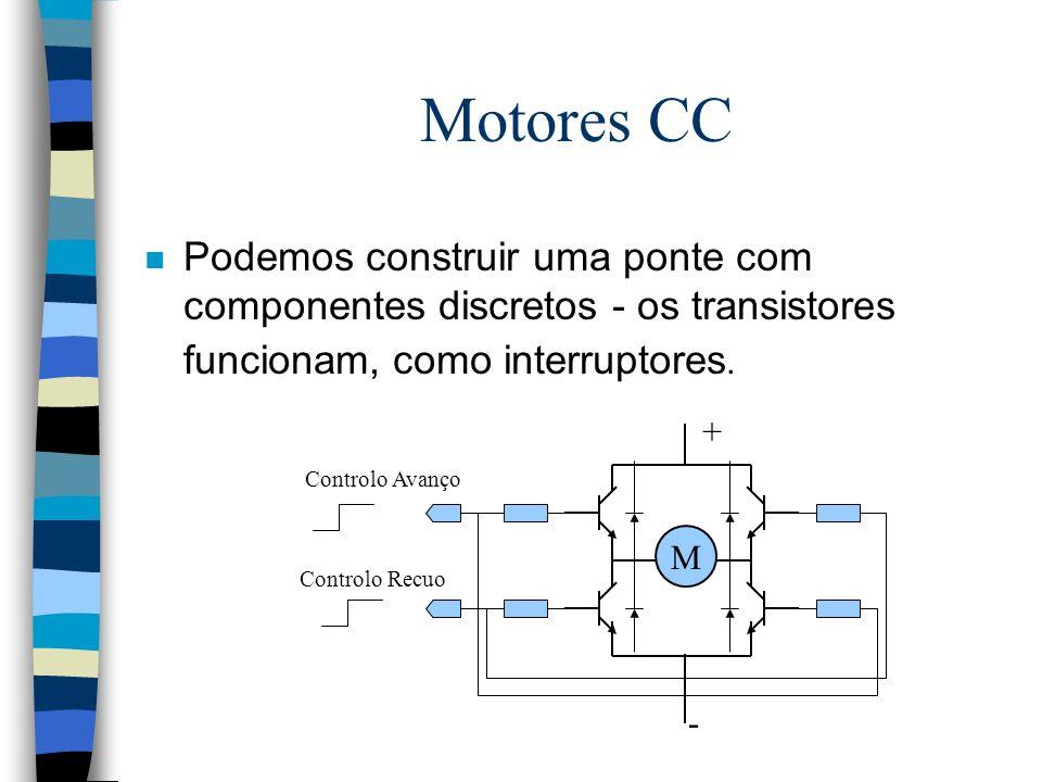 Motores CC Podemos construir uma ponte com componentes discretos - os transistores funcionam, como interruptores.