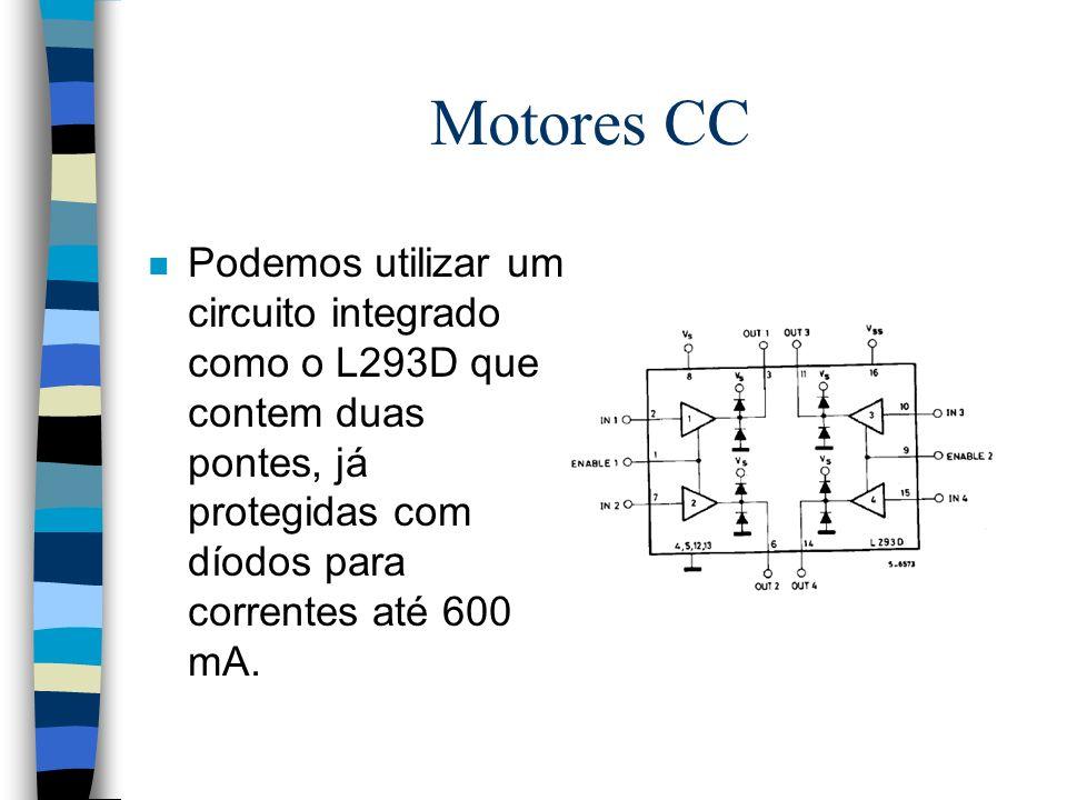 Motores CC Podemos utilizar um circuito integrado como o L293D que contem duas pontes, já protegidas com díodos para correntes até 600 mA.