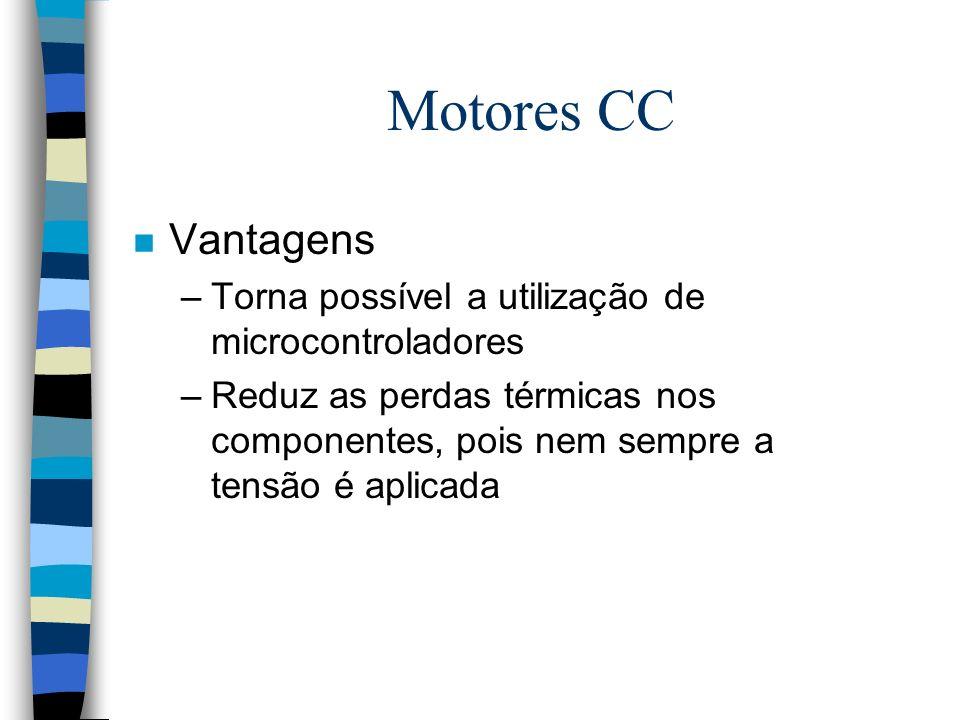 Motores CC Vantagens Torna possível a utilização de microcontroladores