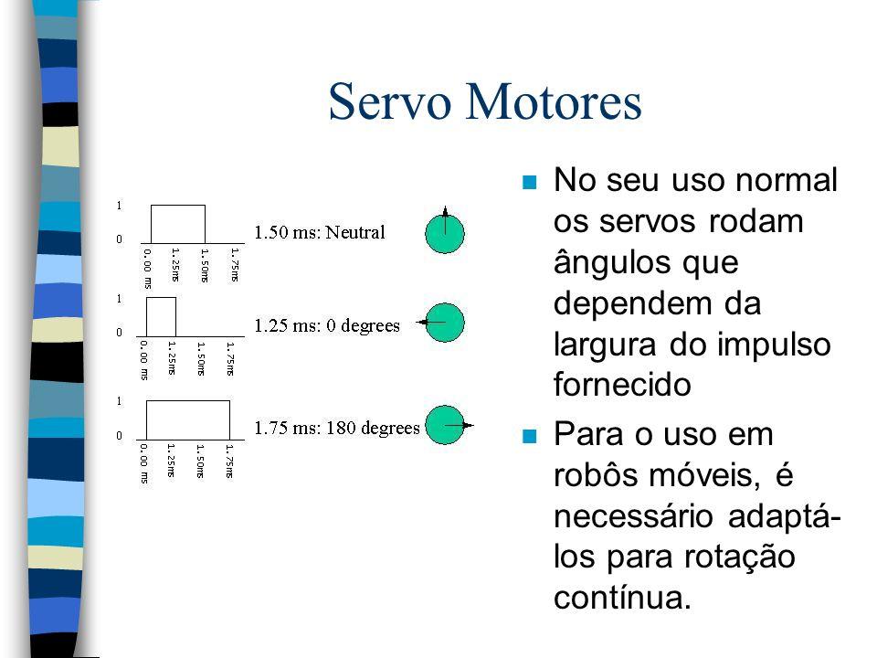 Servo Motores No seu uso normal os servos rodam ângulos que dependem da largura do impulso fornecido.