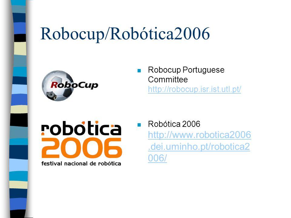 Robocup/Robótica2006 Robocup Portuguese Committee http://robocup.isr.ist.utl.pt/ Robótica 2006 http://www.robotica2006.dei.uminho.pt/robotica2006/