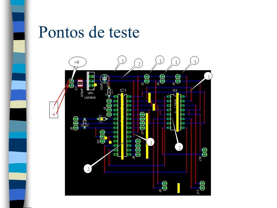 Pontos de teste 1 2 +9V - +