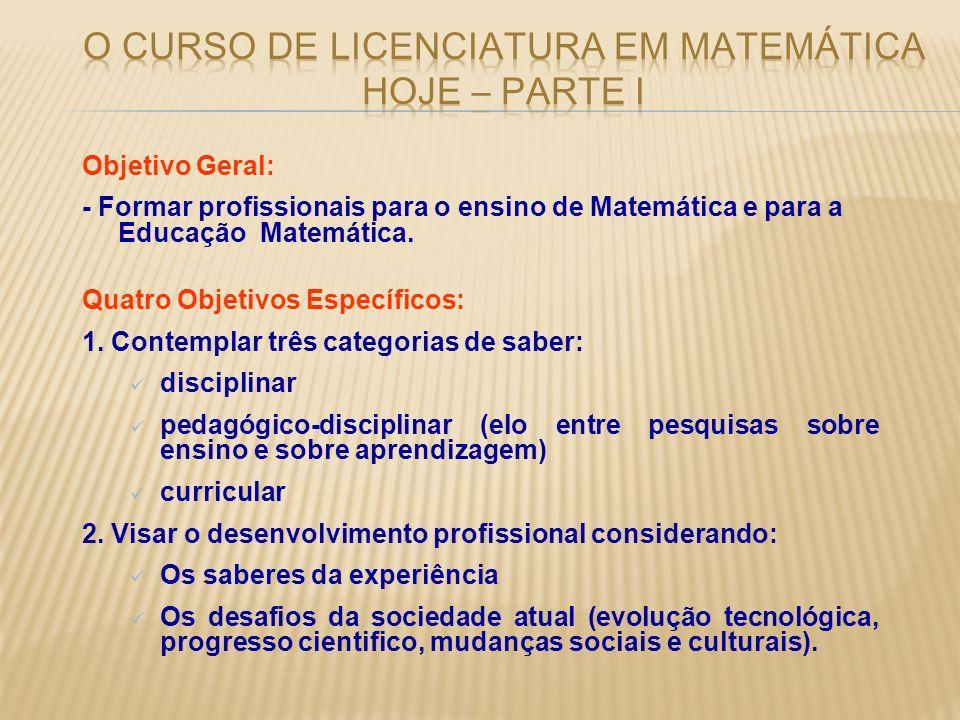 O curso de Licenciatura em Matemática hoje – PARTE I