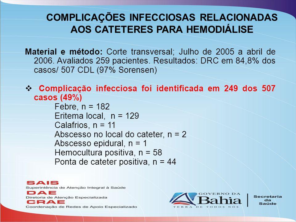 COMPLICAÇÕES INFECCIOSAS RELACIONADAS AOS CATETERES PARA HEMODIÁLISE