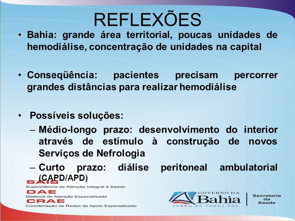 REFLEXÕES Bahia: grande área territorial, poucas unidades de hemodiálise, concentração de unidades na capital.