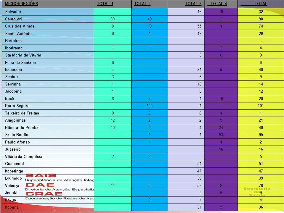 MICRORREGIÕES TOTAL 1. TOTAL 2. TOTAL 3. TOTAL 4. TOTAL. Salvador. 16. 32. Camaçari. 39. 49.