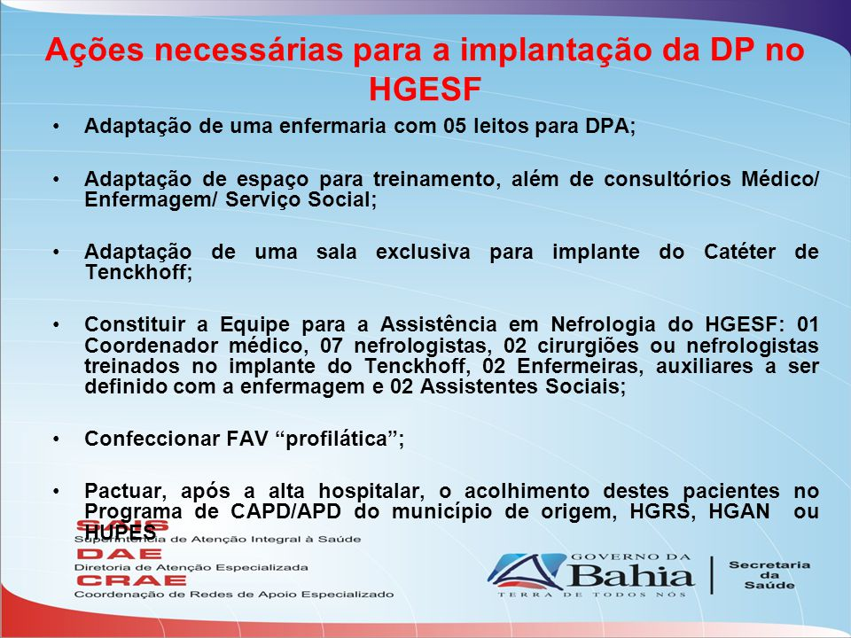 Ações necessárias para a implantação da DP no HGESF