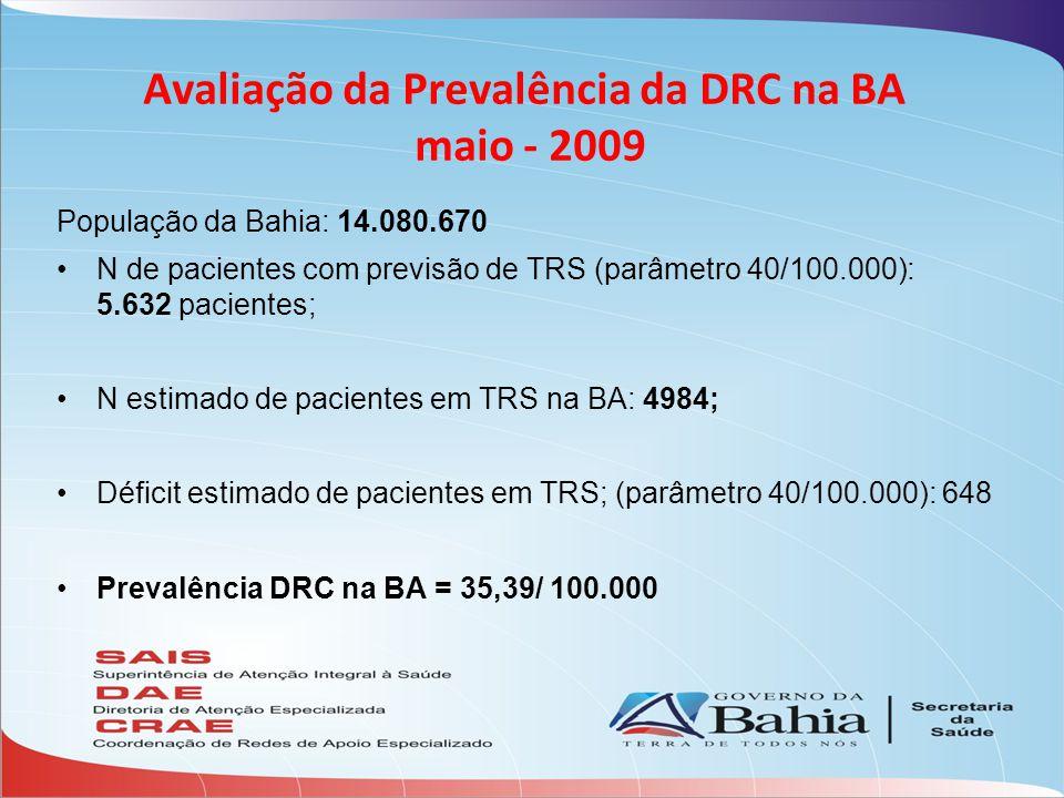 Avaliação da Prevalência da DRC na BA maio - 2009