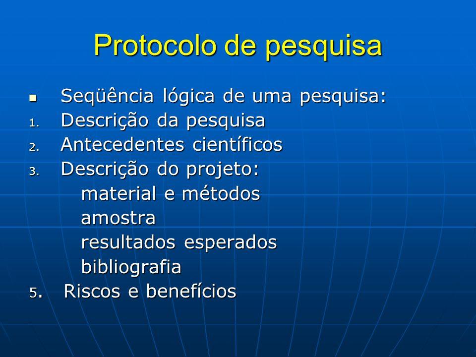 Protocolo de pesquisa Seqüência lógica de uma pesquisa:
