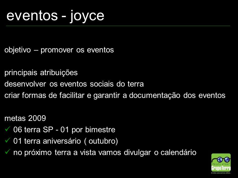 eventos - joyce objetivo – promover os eventos principais atribuições