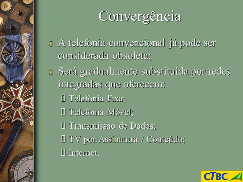 Convergência A telefonia convencional já pode ser considerada obsoleta; Será gradualmente substituída por redes integradas que oferecem: