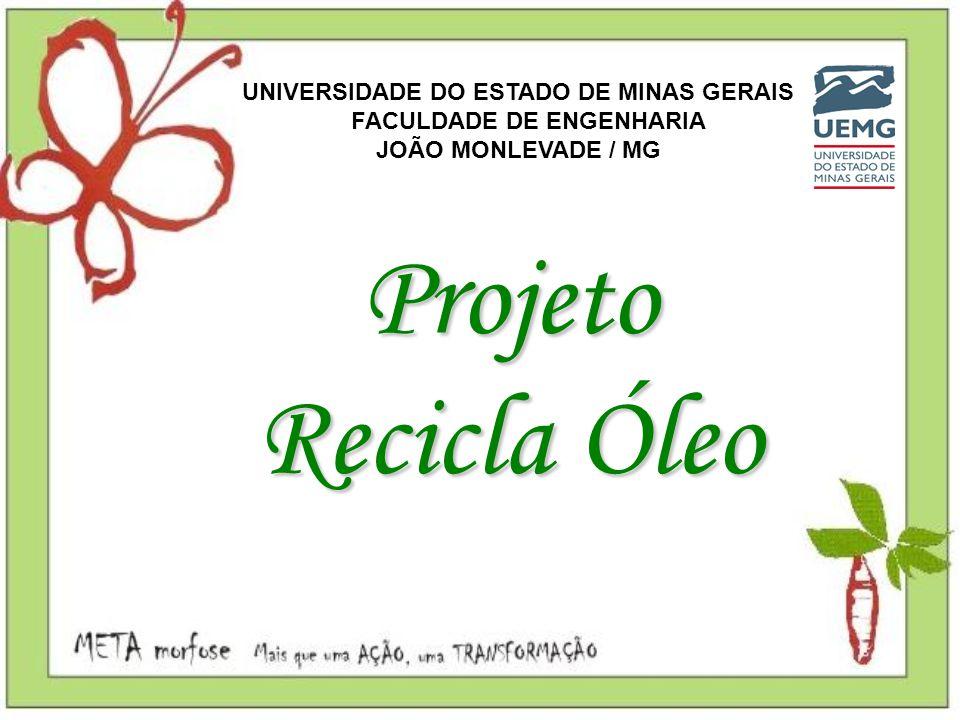 Projeto Recicla Óleo UNIVERSIDADE DO ESTADO DE MINAS GERAIS