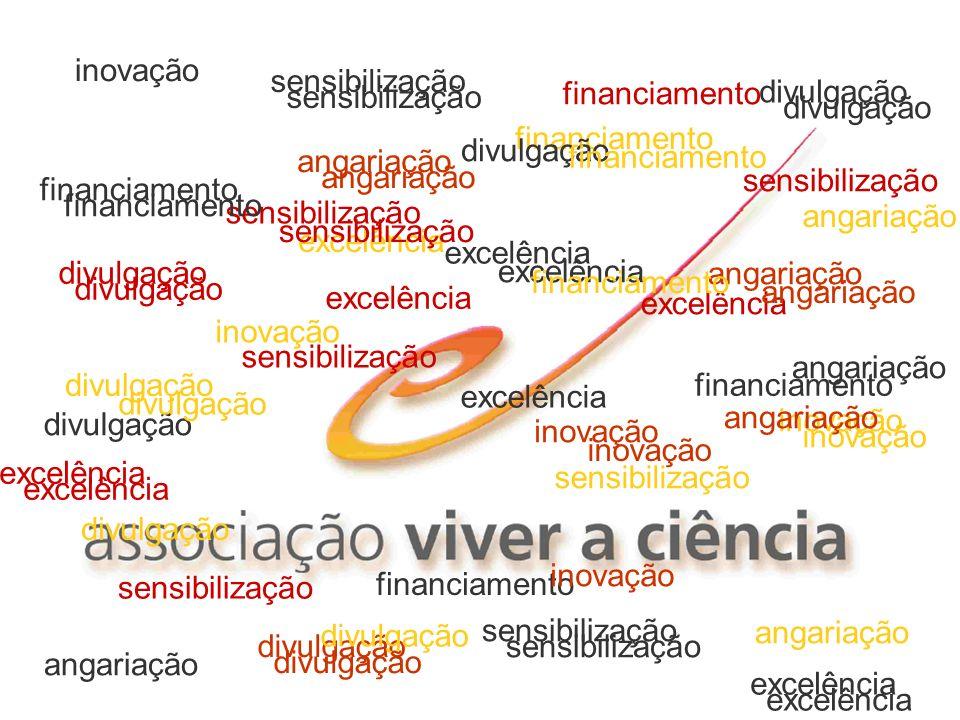 divulgação angariação. sensibilização. financiamento. excelência. inovação. divulgação. sensibilização.