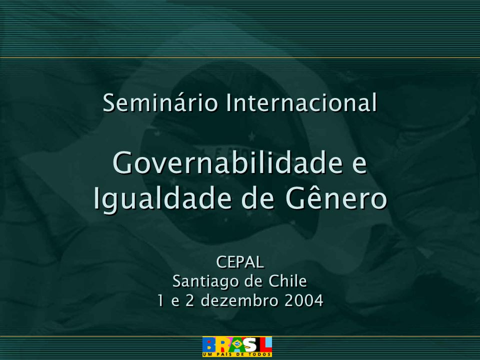 Governabilidade e Igualdade de Gênero