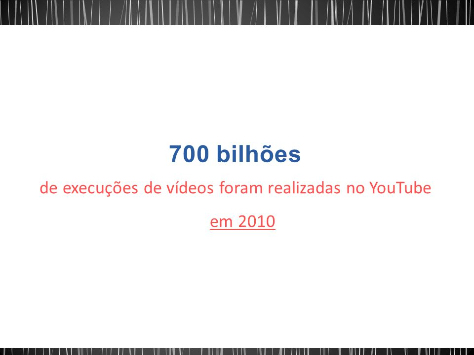de execuções de vídeos foram realizadas no YouTube em 2010