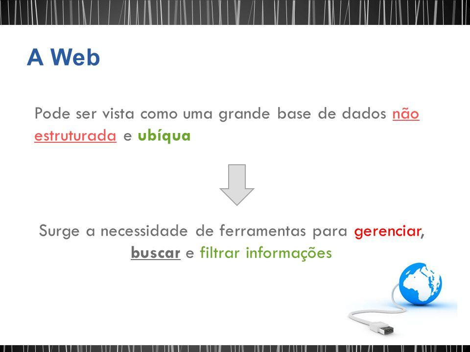 A Web Pode ser vista como uma grande base de dados não estruturada e ubíqua.