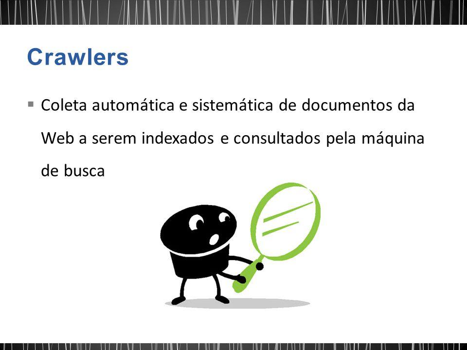 Crawlers Coleta automática e sistemática de documentos da Web a serem indexados e consultados pela máquina de busca.