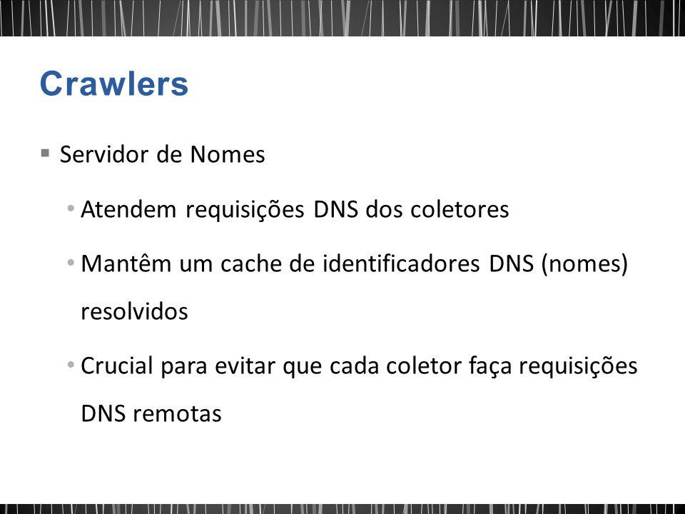 Crawlers Servidor de Nomes Atendem requisições DNS dos coletores
