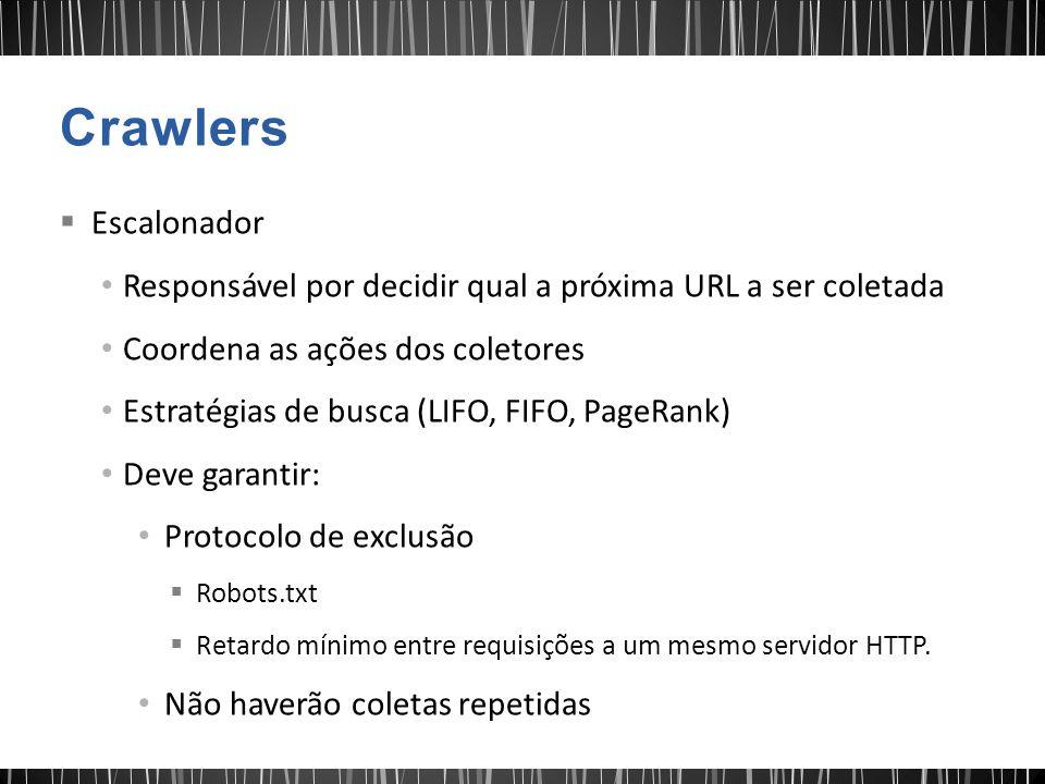 Crawlers Escalonador. Responsável por decidir qual a próxima URL a ser coletada. Coordena as ações dos coletores.
