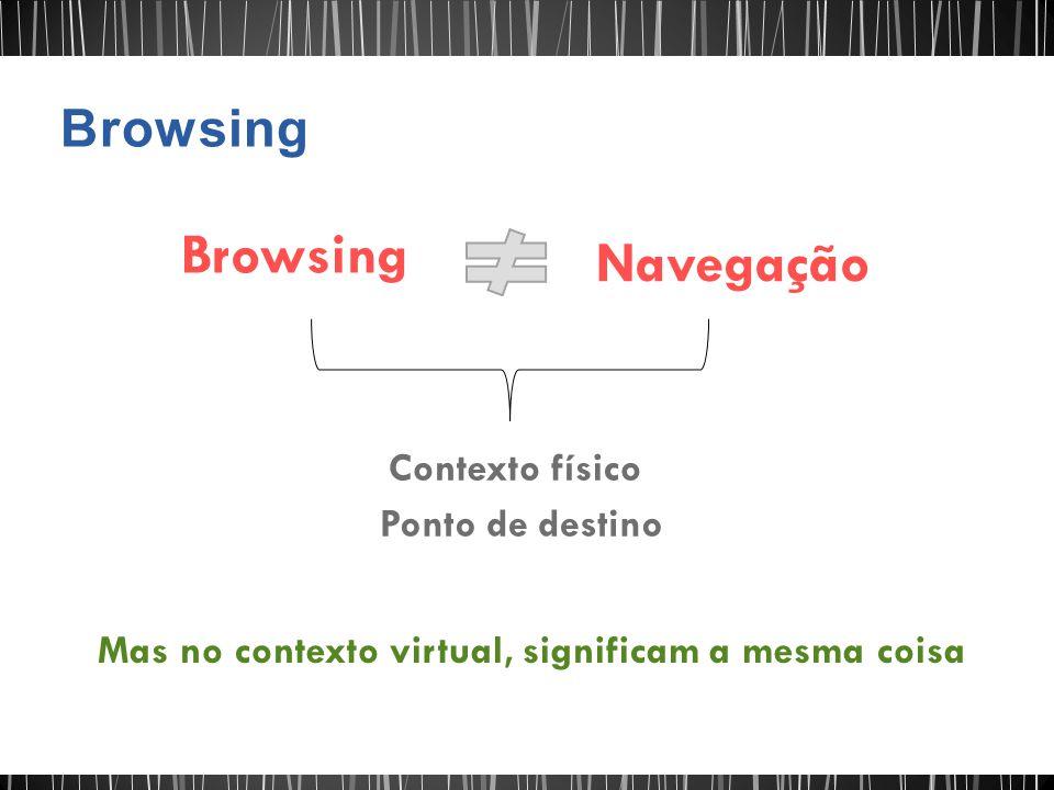 Browsing Navegação Browsing Contexto físico Ponto de destino