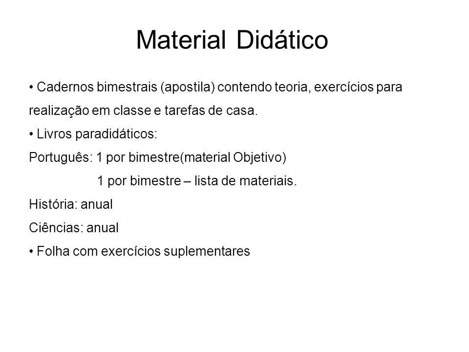 Cadernos bimestrais (apostila) contendo teoria, exercícios para realização em classe e tarefas de casa.