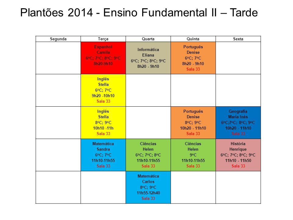 Plantões 2014 - Ensino Fundamental II – Tarde