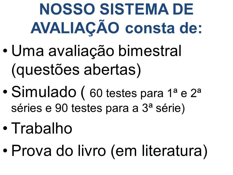 NOSSO SISTEMA DE AVALIAÇÃO consta de:
