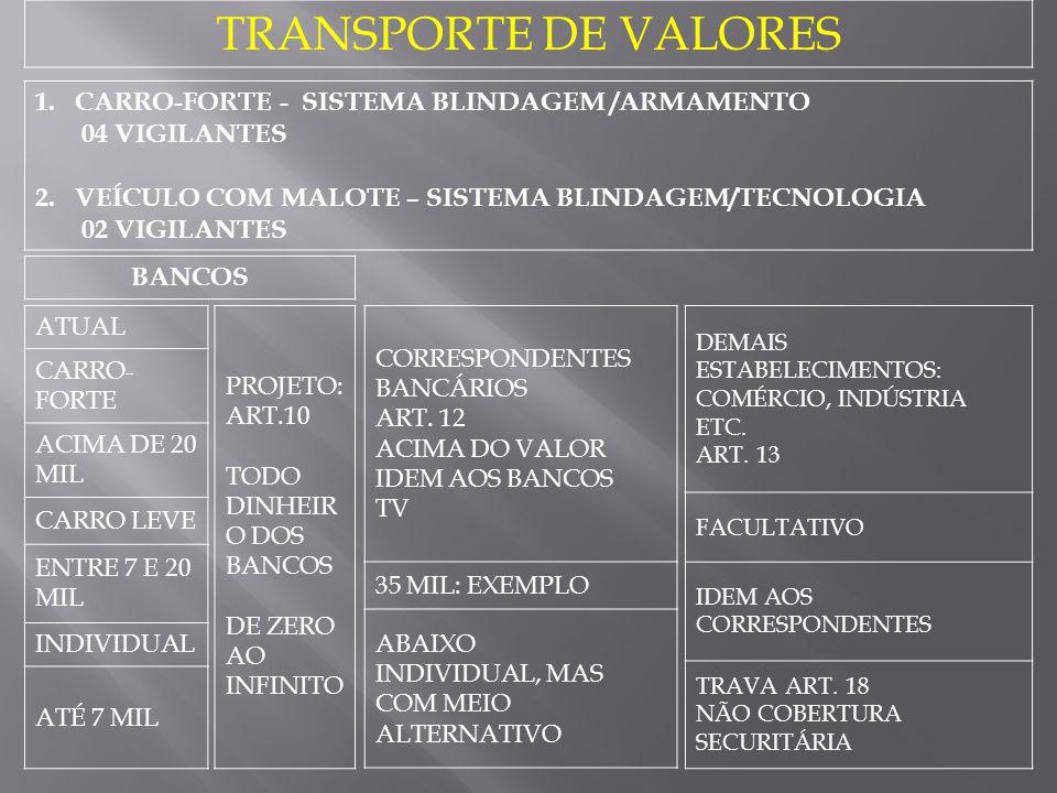 TRANSPORTE DE VALORES CARRO-FORTE - SISTEMA BLINDAGEM /ARMAMENTO