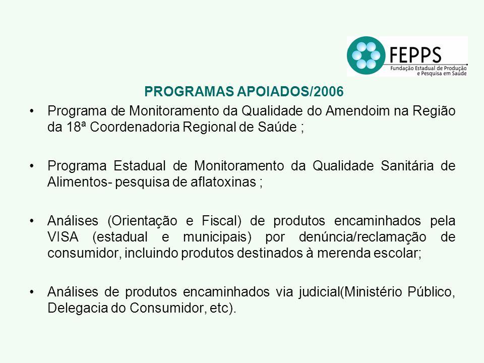 PROGRAMAS APOIADOS/2006 Programa de Monitoramento da Qualidade do Amendoim na Região da 18ª Coordenadoria Regional de Saúde ;