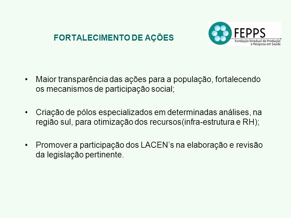 FORTALECIMENTO DE AÇÕES