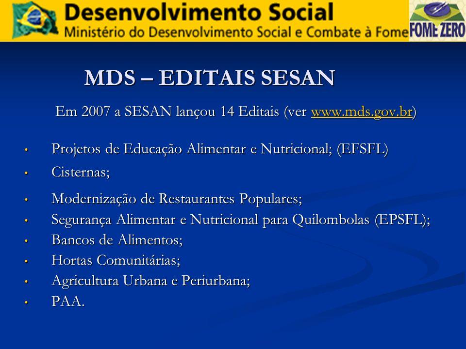 Em 2007 a SESAN lançou 14 Editais (ver www.mds.gov.br)