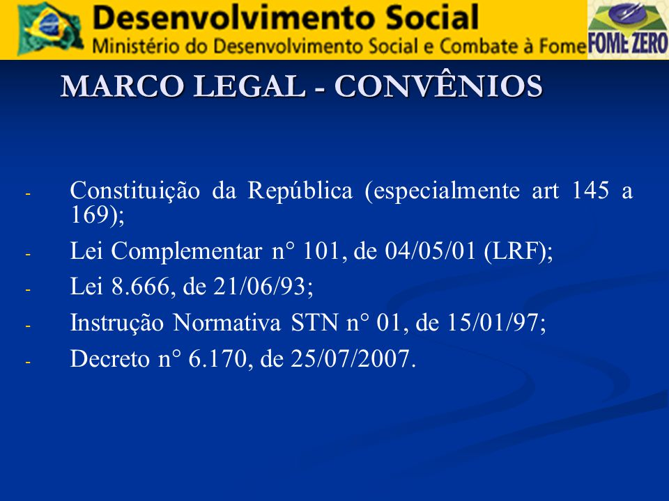 MARCO LEGAL - CONVÊNIOS