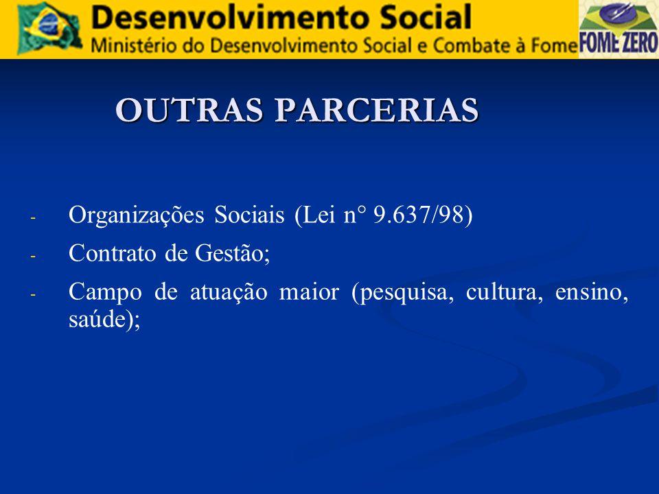 OUTRAS PARCERIAS Organizações Sociais (Lei n° 9.637/98)