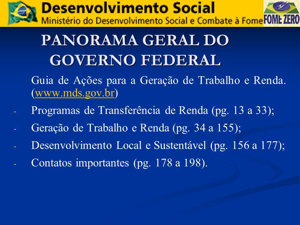 PANORAMA GERAL DO GOVERNO FEDERAL