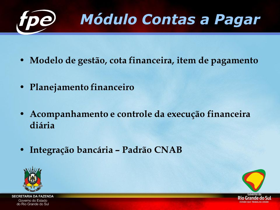 Módulo Contas a Pagar Modelo de gestão, cota financeira, item de pagamento. Planejamento financeiro.
