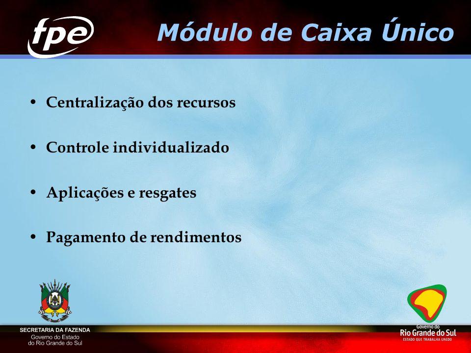 Módulo de Caixa Único Centralização dos recursos