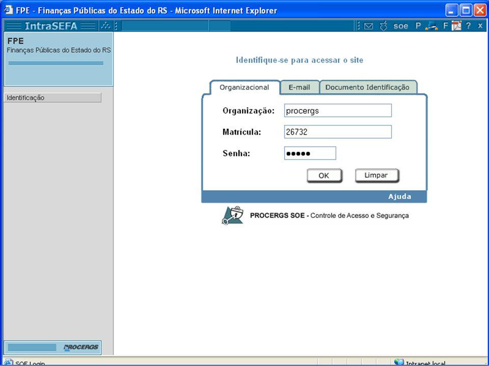 Identificação O sistema exige identificação do usuário.
