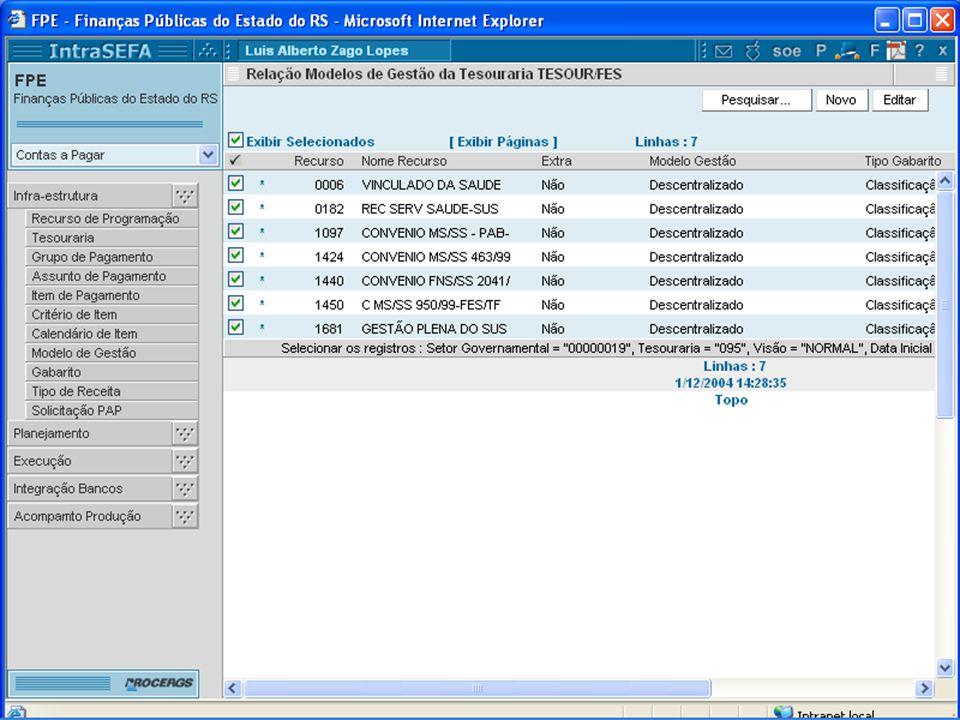 Modelo de Gestão Tela de Resultado da Pesquisa: Relação dos registros que atendem aos critérios especificados.