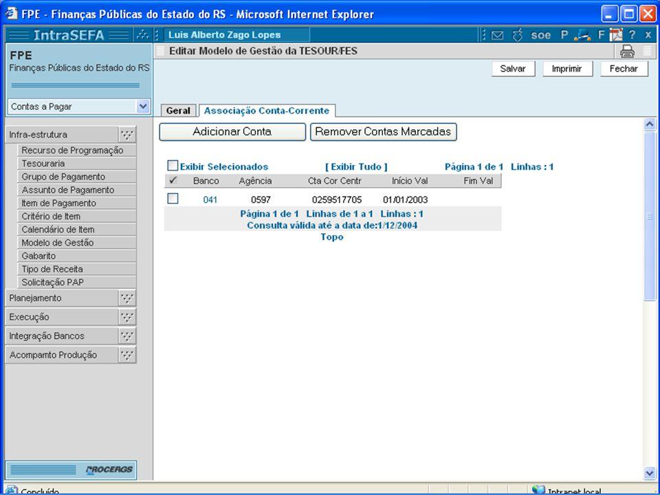 Modelo de Gestão Associa a conta-corrente bancária ao recurso utilizado pela tesouraria: automatização de conhecimentos;