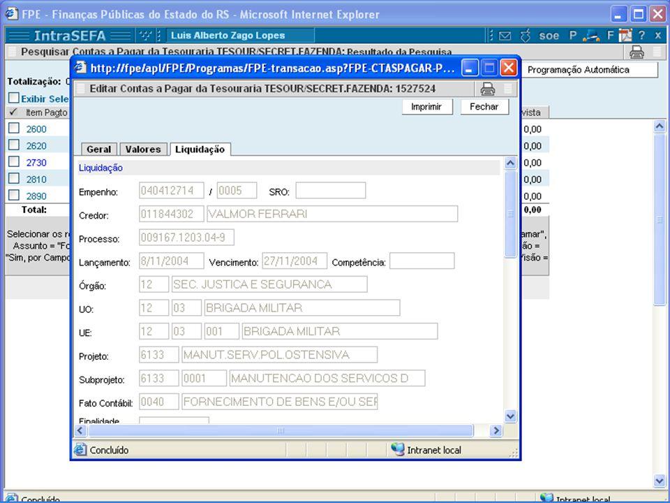 Contas a Pagar Aba com dados do empenho, credor, processo, etc.